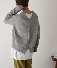 knit-02080 バックキーネックニット グレー