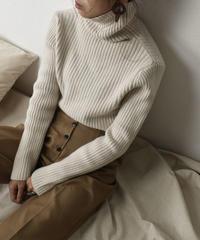 knit-02062 リブタートルネックニットプルオーバー オートミール ダスティパープル
