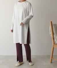 nh-onepiece-04012 日本製 サイドスリットロングTシャツ ホワイト
