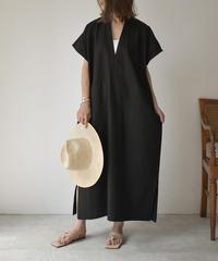 5月下旬入荷分 予約販売 onepiece-04025 日本製 リネン カフタン ブラック エクリュ