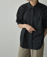 tops-02263 ショルダーギャザー シャツ ブラック