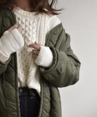 nh-gloves-02004 リブ切り替えアームウォーマー オフホワイト カーキベージュ ブラウン ライトグレー チャコールグレー ブラック
