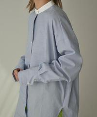 3月中旬入荷分 予約販売 tops-04079 日本製 ストライプ クレリック ドレスシャツ ブルー