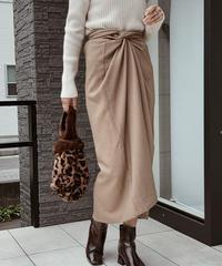 bottoms-04006 日本製 カシュクールスカート ペチコート付き モカ ベージュ