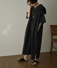 7月上旬から7月中旬入荷分 予約販売 onepiece-04047 日本製 シーチングビックカラーワンピース オフホワイト グレージュ ブラック