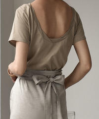 7月中旬~7月下旬入荷分 予約販売 nh-tops-04004 日本製 ツイストネック バックオープンTシャツ カーキベージュ