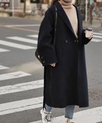 coat-02007 ウール ダブルテーラーコート リバー仕立て ブラック