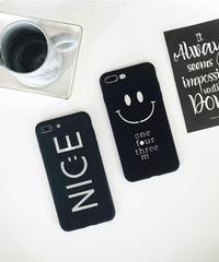 mb-iphone-02349 くりぬき文字 ブラック スマイル ニコちゃん NICE iPhoneケース