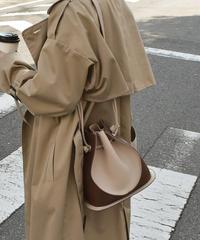 bag2-02487 バイカラー 巾着ショルダーバッグ  ブラウン×ベージュ