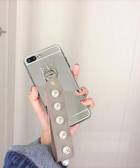 mb-iphone-02313 パールスタッズ ストラップ付き iPhoneケース