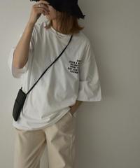 nh-tops-02235 テキスト クルーネック Tシャツ ホワイト ブラック