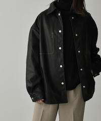 outer-02032 エコレザー オーバーサイズジャケット ブラック