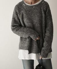 knit-02074 ダメージデザイン ニット グレーミックス ブラウンミックス