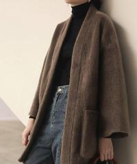 coat-02013 エコファー ミディアム丈ガウンコート ブラウン