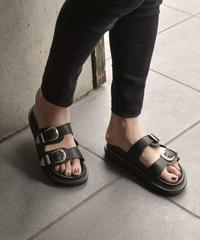 shoes-02079 シルバーバックル プラットフォームサンダル ブラック