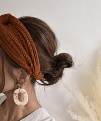 mb-hair2-02016 ニットツイストヘッドバンド ダークオレンジ カーキ