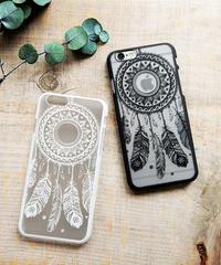 mb-iphone-02298 ドリームキャッチャー ブラック ホワイト iPhoneケース