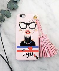 mb-iphone-02285 タイプC I love you  オシャレガール  スタッズ  タッセル付き iPhoneケース