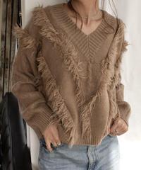 knit-02011 フリンジデザイン Vネックニット アイボリー モカ
