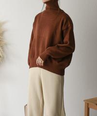 knit-02052 コクーンタートルネックニット キャメル アプリコットブラウン