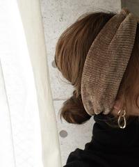 mb-hair2-02026 コーデュロイ ツイストニットヘッドバンド モカ ダークブラウン テラコッタ