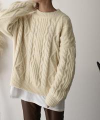 knit-02057 クルーネックケーブルニット オフホワイト