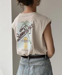 nh-tops-02094 80's ヴィンテージプリント ノースリーブTシャツ ホワイト ベージュ