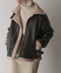 1月下旬入荷分 予約販売 coat-02027 エコレザー B-3  フライトジャケット ダークブラウン