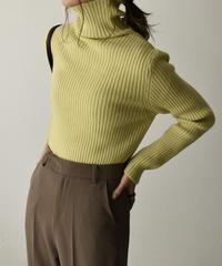 knit-02107 リブ タートルネック ニット オフホワイト モカ グリーンイエロー