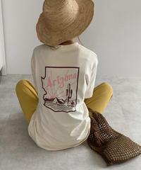 nh-tops-02167 Arizona バックプリント Tシャツ アイボリー ダスティパープル チャコール