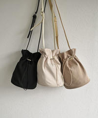 nh-bag2-02478 ナイロンミニ巾着ショルダーバッグ ライトベージュ ベージュ ブラック