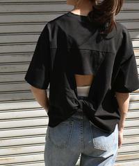 nh-tops-02075 バッククロスTシャツ ホワイト ブラック