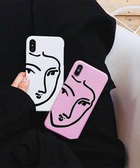 mb-iphone-02448 タイプ2 フェイスモチーフ モダンアート 人物 iPhoneケース