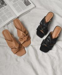 shoes-02107 ノットデザイン ヒールサンダル ブラック キャメル
