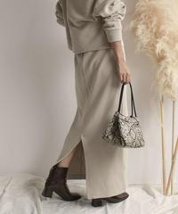 10月上旬~10月中旬入荷分 予約販売 bottoms-04010 日本製 マキシ丈ニットスカート エクリュ ブラウン