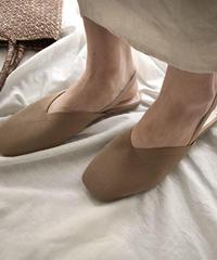 shoes-02059 スクエアトゥ バックベルト メッシュパンプス ベージュ
