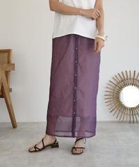 bottoms-04023 日本製 シアースカート インナー付き パープル ベージュ