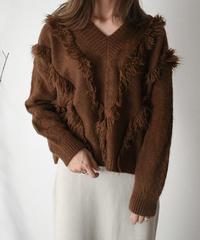 knit-02011 フリンジデザイン Vネックニット アイボリー モカ ブラウン