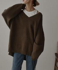 knit-02090 Vネック オーバーサイズニット モカ マスタードキャメル