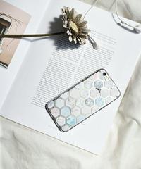 mb-iphone-02444 ヘクサゴナル パターン マーブル模様 カラフル クリアiPhoneケース