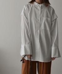 9月下旬入荷分 予約販売 tops-04052 日本製 レイヤードスリーブ シャツ  ホワイト