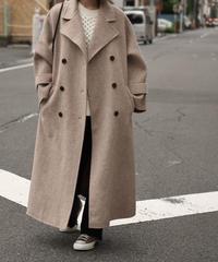 coat-02023 ウール90 ダブルボタンワイドスリーブコート リバー仕立て ミルクティーベージュ