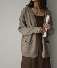 knit-02091 アウトシーム ニットショートガウン ブラック ミルクティー