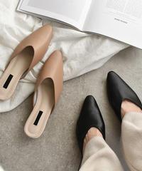 shoes-02056 フェイクレザー ポインテッドトゥミュール パンプス ヌードカラー ブラック