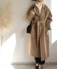 coat-02003 バックタック ロング ウールガウンコート リバー仕立て キャメル ブラック
