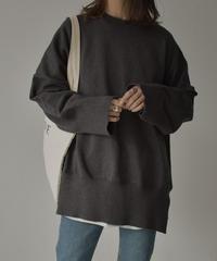 knit-02089 オーバーサイズ ハイゲージ クルーネックニット グレー