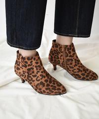 shoes-02088 レオパード柄 アンクルブーツ キトゥンヒール