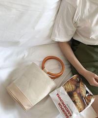 bag2-02312 ウッドリングハンドル キャンバス×フェイクレザーバケツバッグ