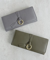 wallet-02050 リングデザイン 長財布 小銭入れ付き 三つ折り ウォレット