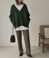 knit-02094 Vネック ウール混ミックスカラーニットカーディガン グリーン ブラウン
